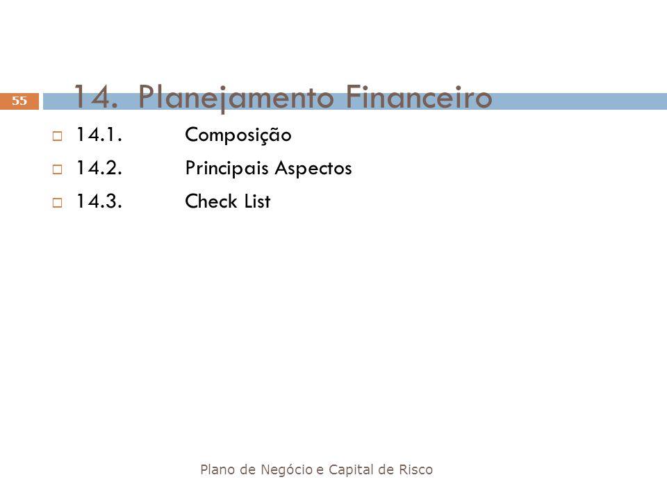 14.Planejamento Financeiro Plano de Negócio e Capital de Risco 55 14.1.Composição 14.2.Principais Aspectos 14.3.Check List