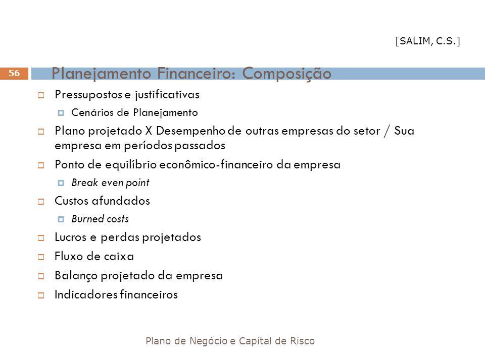 Planejamento Financeiro: Composição Plano de Negócio e Capital de Risco 56 Pressupostos e justificativas Cenários de Planejamento Plano projetado X De