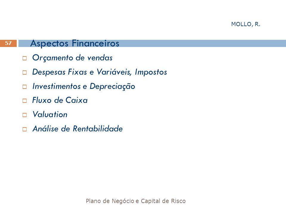 Aspectos Financeiros Plano de Negócio e Capital de Risco 57 Orçamento de vendas Despesas Fixas e Variáveis, Impostos Investimentos e Depreciação Fluxo