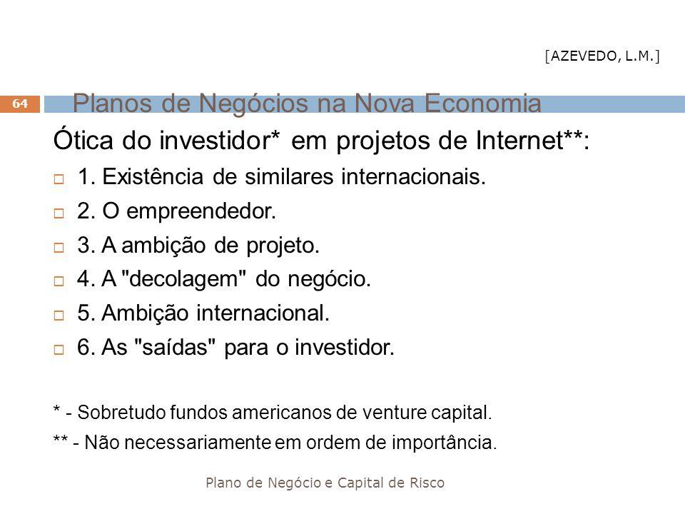 Planos de Negócios na Nova Economia Plano de Negócio e Capital de Risco 64 Ótica do investidor* em projetos de Internet**: 1. Existência de similares