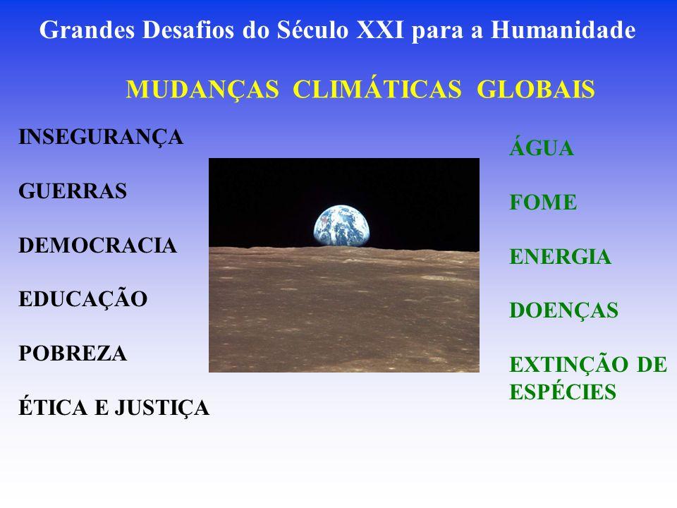 Grandes Desafios do Século XXI para a Humanidade MUDANÇAS CLIMÁTICAS GLOBAIS ÁGUA FOME ENERGIA DOENÇAS EXTINÇÃO DE ESPÉCIES INSEGURANÇA GUERRAS DEMOCRACIA EDUCAÇÃO POBREZA ÉTICA E JUSTIÇA
