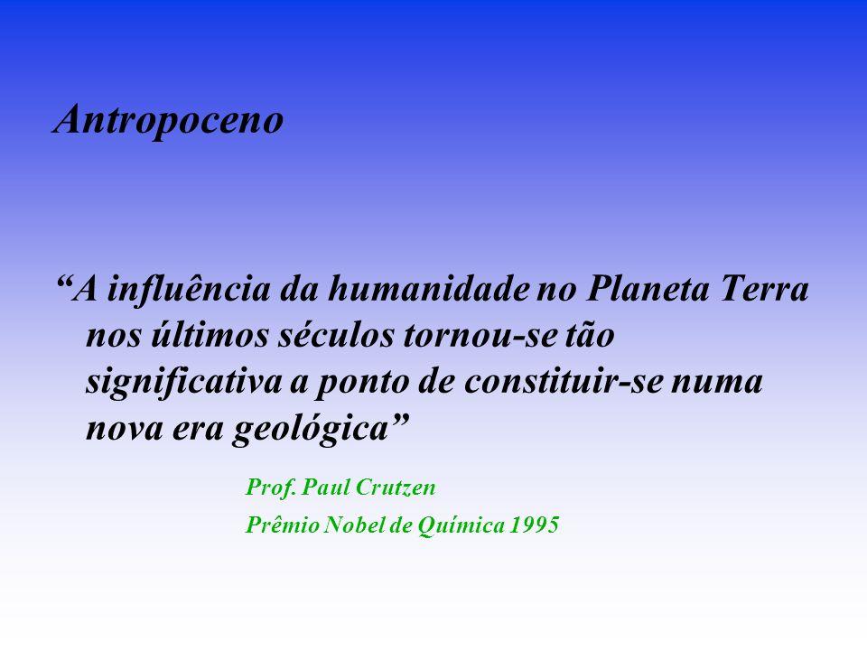 Antropoceno A influência da humanidade no Planeta Terra nos últimos séculos tornou-se tão significativa a ponto de constituir-se numa nova era geológica Prof.