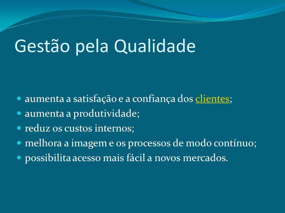 Gestão pela Qualidade aumenta a satisfação e a confiança dos clientes;clientes aumenta a produtividade; reduz os custos internos; melhora a imagem e o