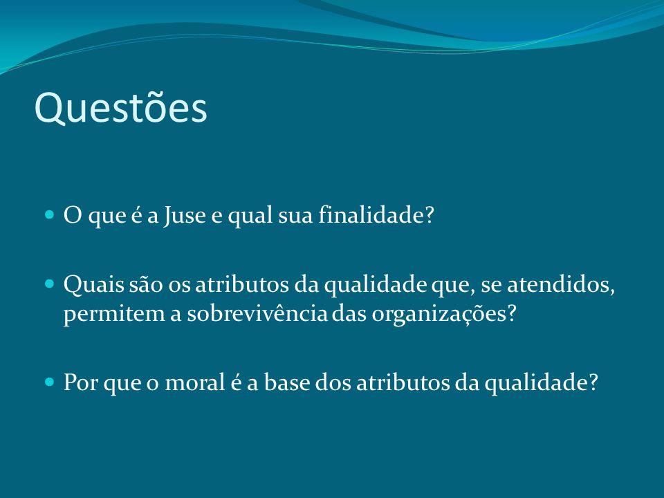 Questões O que é a Juse e qual sua finalidade? Quais são os atributos da qualidade que, se atendidos, permitem a sobrevivência das organizações? Por q