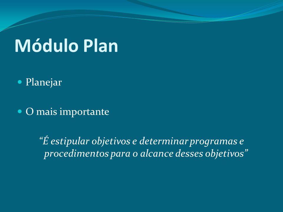 Módulo Plan Planejar O mais importante É estipular objetivos e determinar programas e procedimentos para o alcance desses objetivos