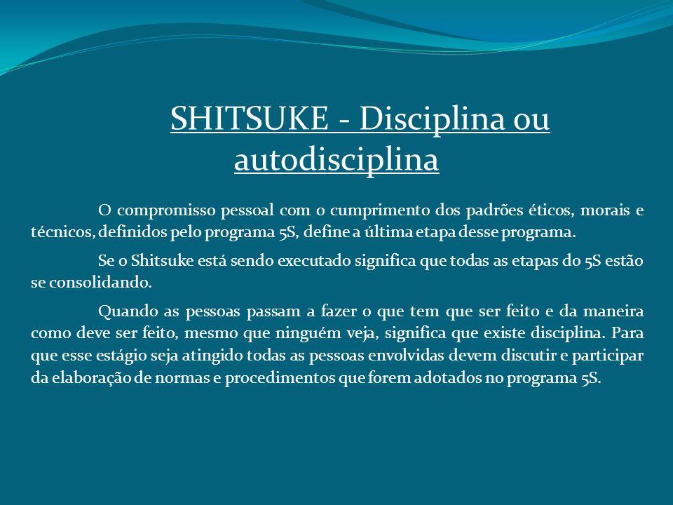 SHITSUKE Disciplina ou autodisciplina O compromisso pessoal com o cumprimento dos padrões éticos, morais e técnicos, definidos pelo programa 5S, defin
