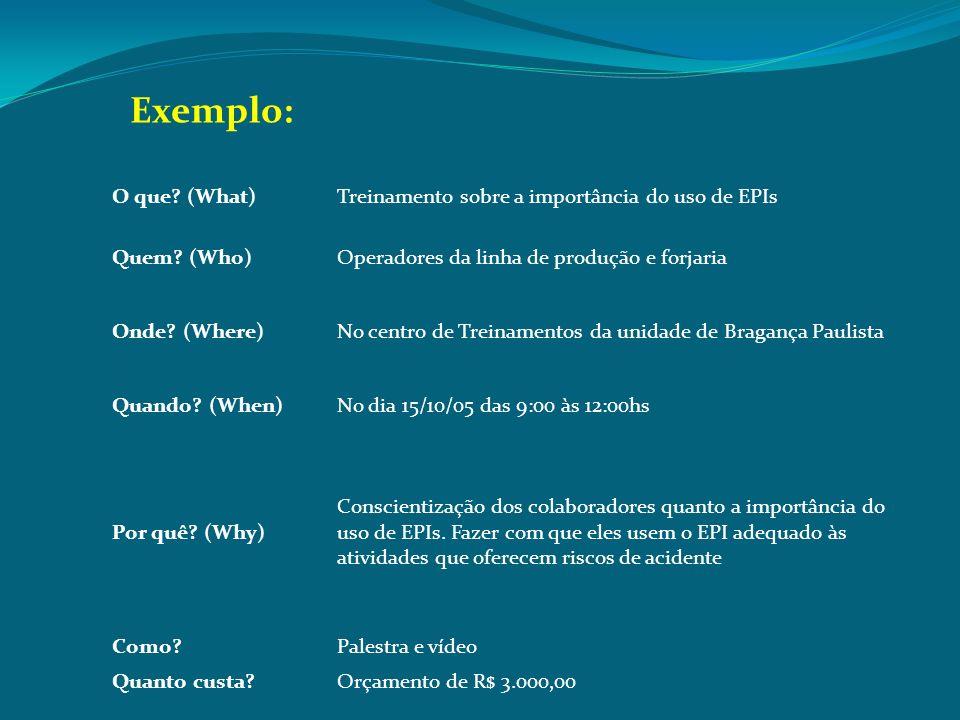 O que? (What)Treinamento sobre a importância do uso de EPIs Quem? (Who)Operadores da linha de produção e forjaria Onde? (Where)No centro de Treinament