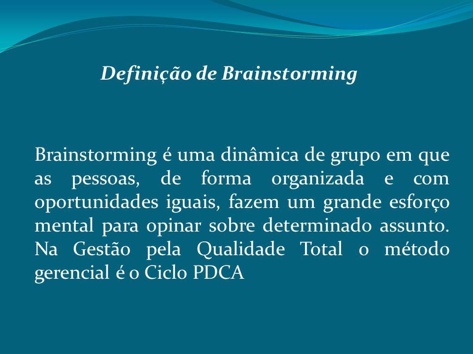 Definição de Brainstorming Brainstorming é uma dinâmica de grupo em que as pessoas, de forma organizada e com oportunidades iguais, fazem um grande es
