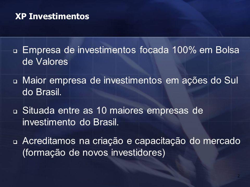 2 XP Investimentos Empresa de investimentos focada 100% em Bolsa de Valores Maior empresa de investimentos em ações do Sul do Brasil. Situada entre as