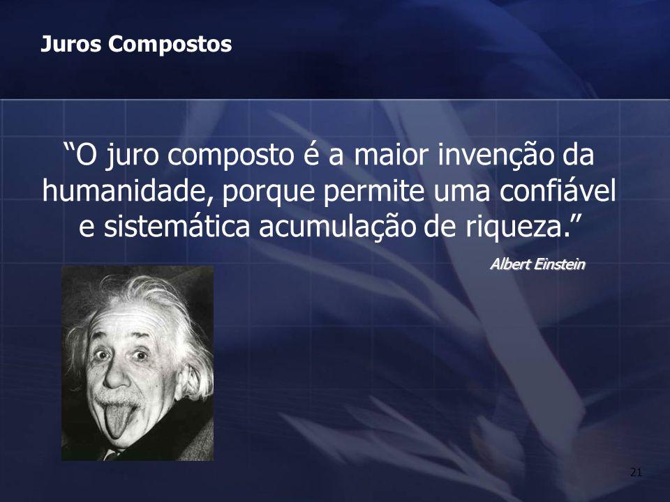 21 O juro composto é a maior invenção da humanidade, porque permite uma confiável e sistemática acumulação de riqueza. Albert Einstein Juros Compostos
