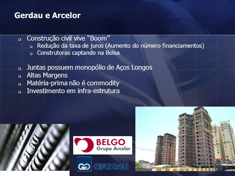 38 Gerdau e Arcelor Construção civil vive Boom Redução da taxa de juros (Aumento do número financiamentos) Construtoras captando na Bolsa Juntas possu
