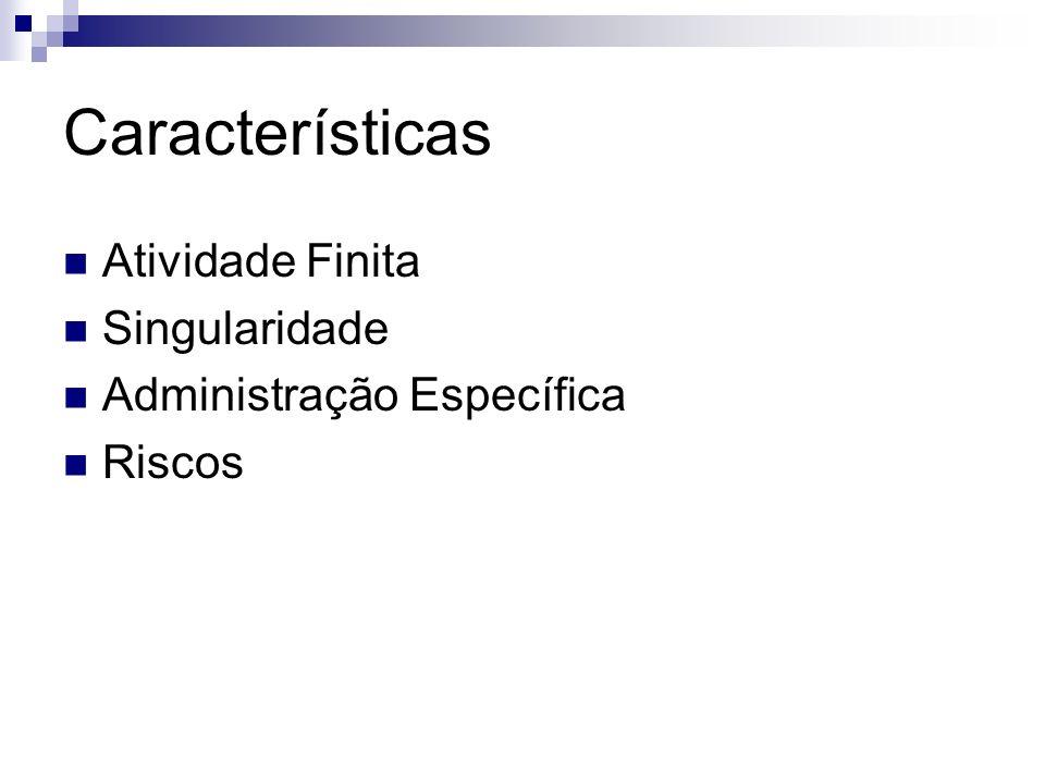 Características Atividade Finita Singularidade Administração Específica Riscos
