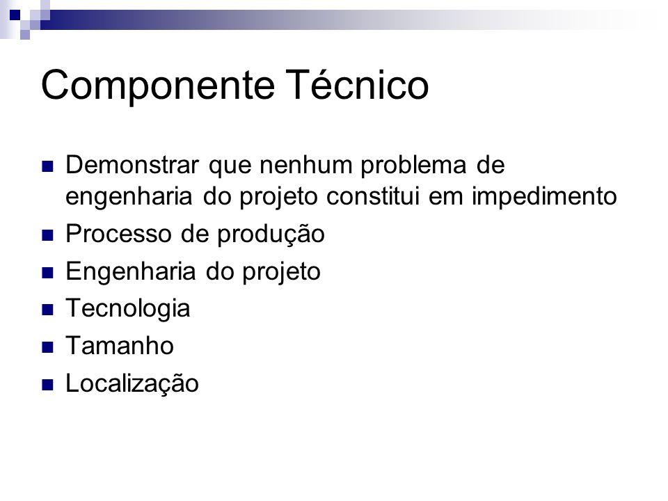 Componente Técnico Demonstrar que nenhum problema de engenharia do projeto constitui em impedimento Processo de produção Engenharia do projeto Tecnolo
