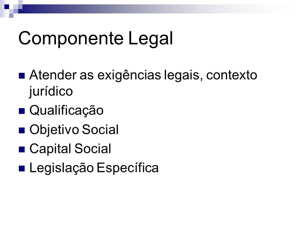 Componente Legal Atender as exigências legais, contexto jurídico Qualificação Objetivo Social Capital Social Legislação Específica