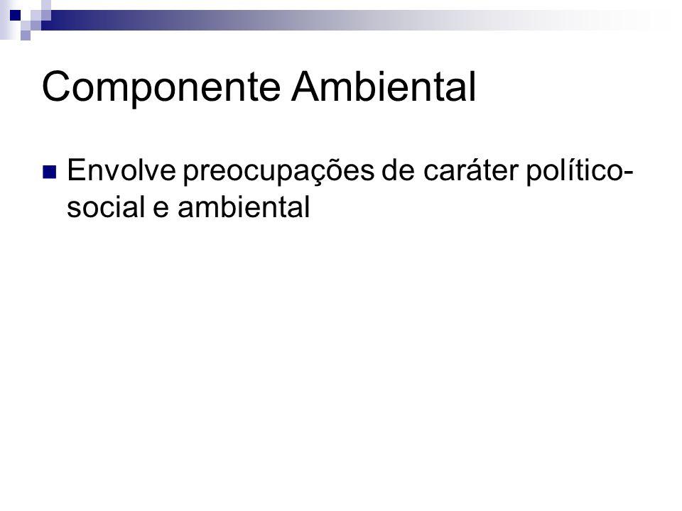 Componente Ambiental Envolve preocupações de caráter político- social e ambiental
