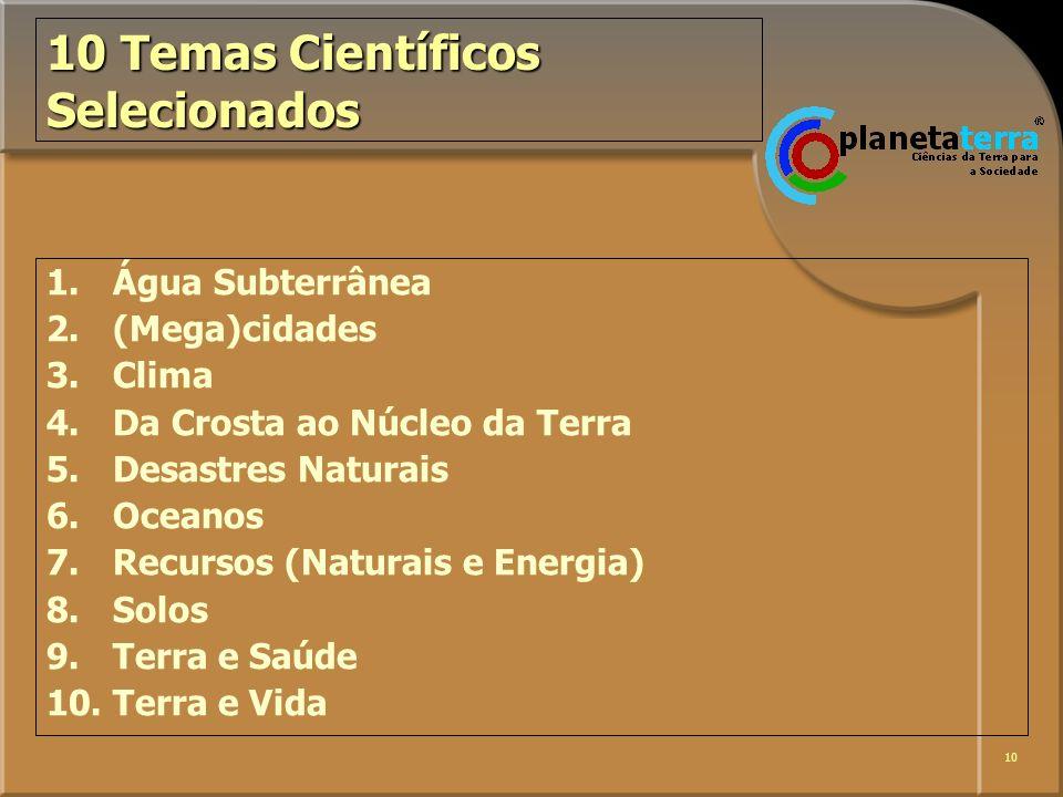 10 10 Temas Científicos Selecionados 1. Água Subterrânea 2. (Mega)cidades 3.Clima 4.Da Crosta ao Núcleo da Terra 5.Desastres Naturais 6.Oceanos 7.Recu