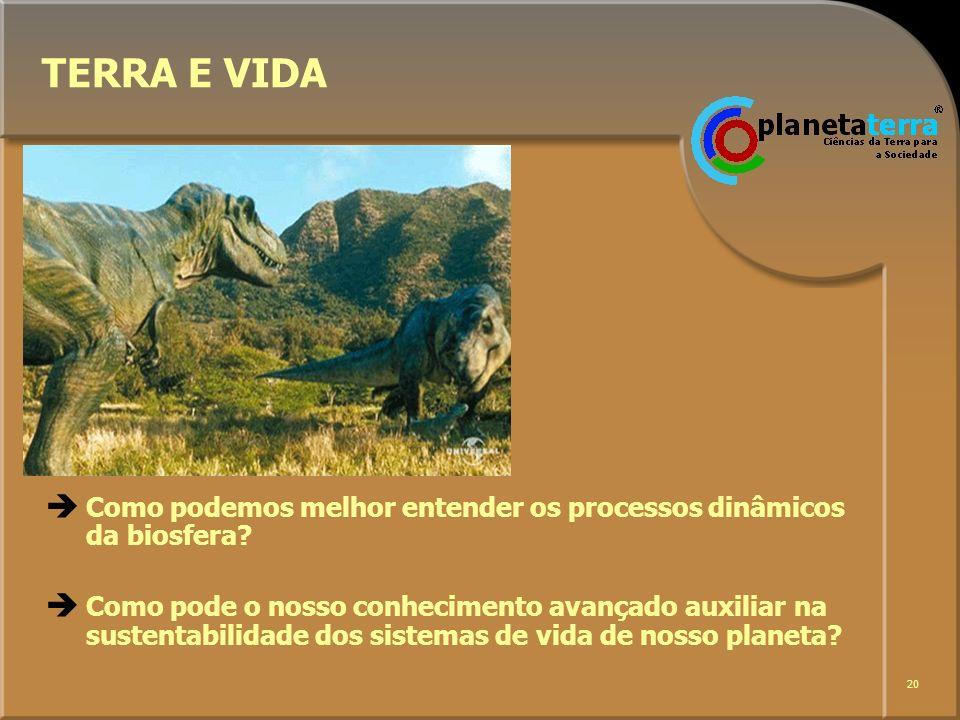 20 TERRA E VIDA Como podemos melhor entender os processos dinâmicos da biosfera? Como pode o nosso conhecimento avançado auxiliar na sustentabilidade