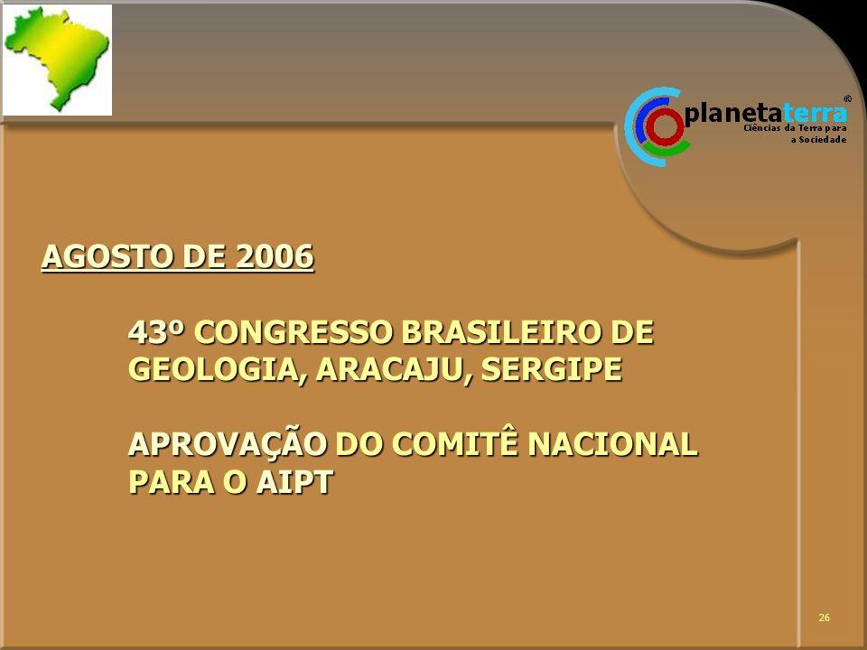 26 AGOSTO DE 2006 43º CONGRESSO BRASILEIRO DE GEOLOGIA, ARACAJU, SERGIPE APROVAÇÃO DO COMITÊ NACIONAL PARA O AIPT