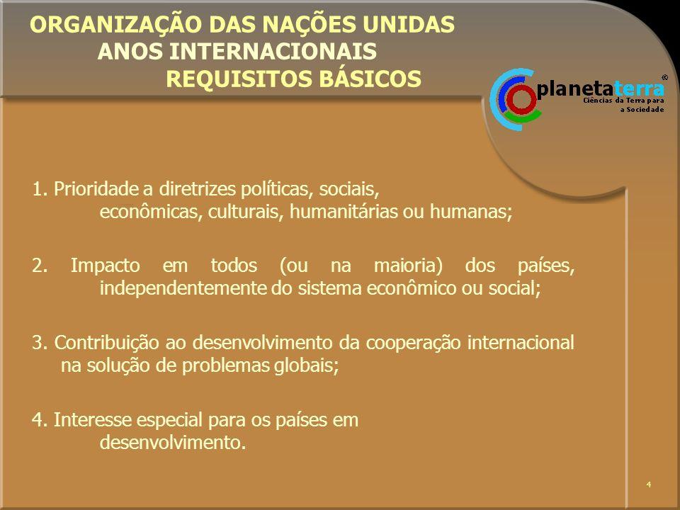 4 ORGANIZAÇÃO DAS NAÇÕES UNIDAS ANOS INTERNACIONAIS REQUISITOS BÁSICOS 1. Prioridade a diretrizes políticas, sociais, econômicas, culturais, humanitár