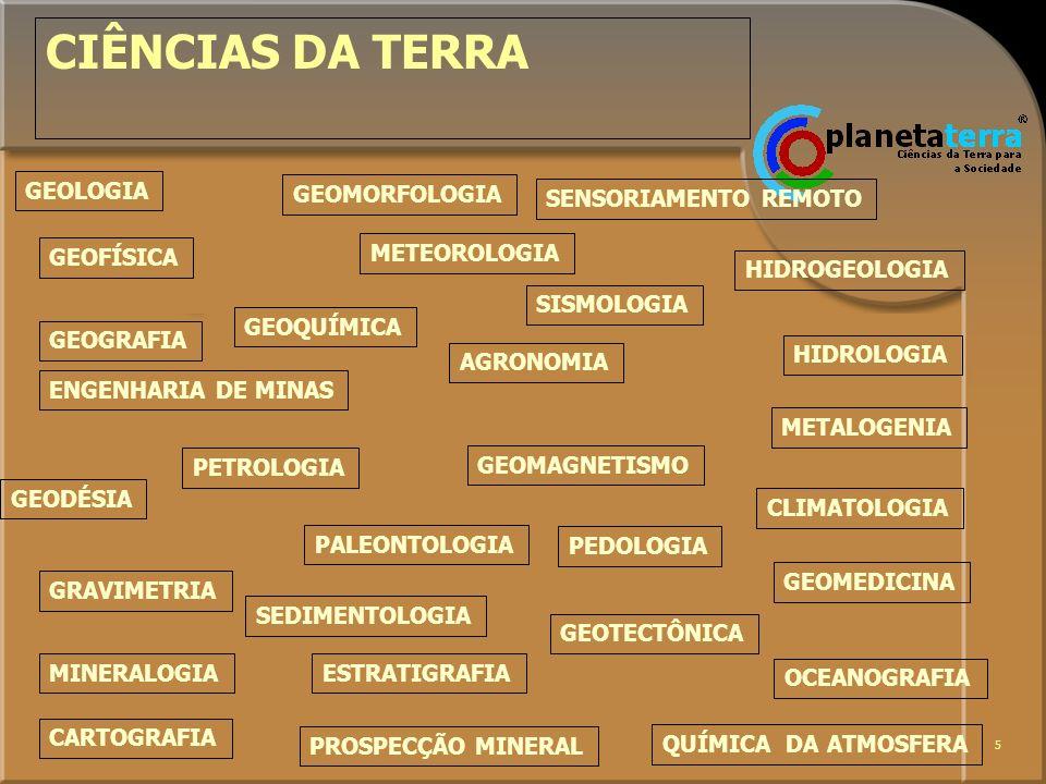 5 CIÊNCIAS DA TERRA GEOLOGIA GEOFÍSICA GEOMORFOLOGIA GEOQUÍMICA GEOGRAFIA GEODÉSIA SEDIMENTOLOGIA GRAVIMETRIA MINERALOGIA CARTOGRAFIA SENSORIAMENTO RE