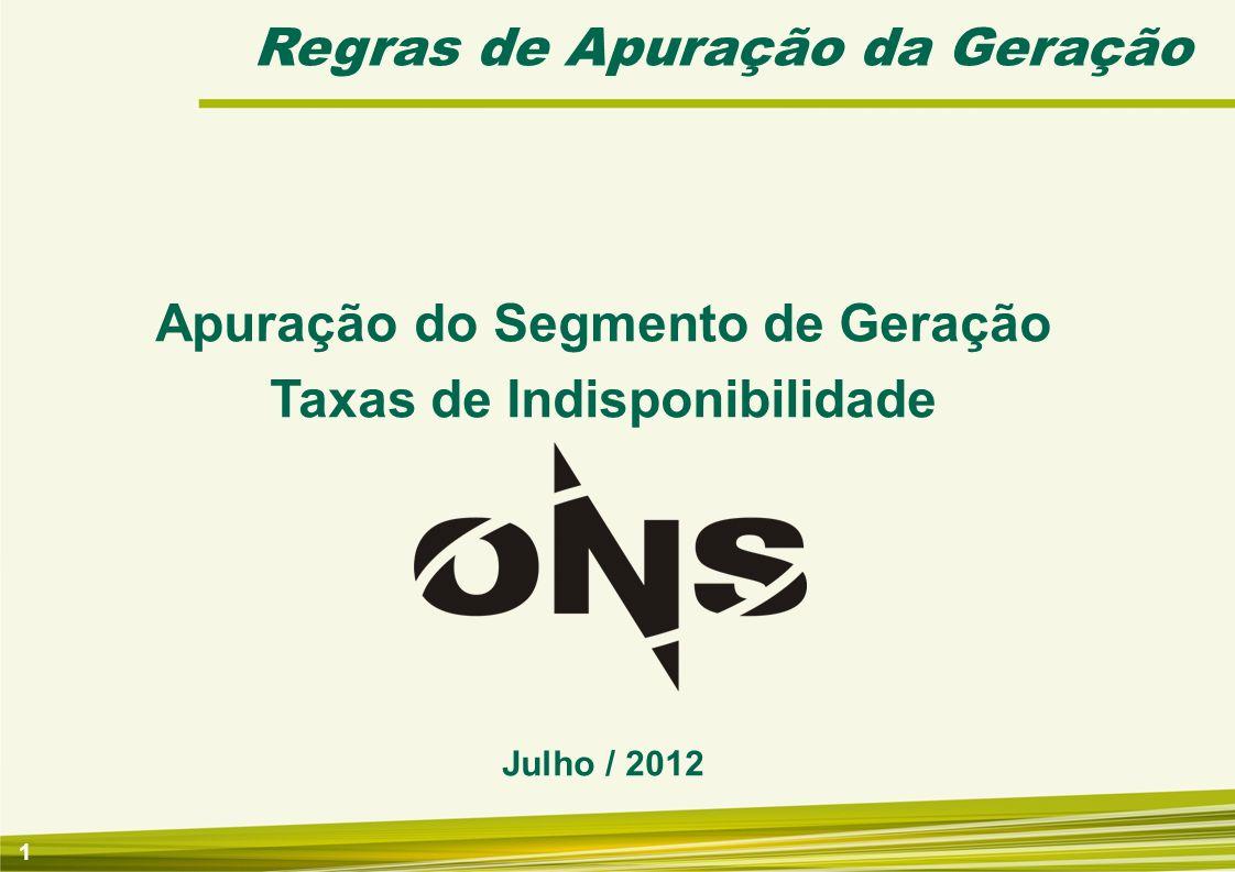 1 Regras de Apuração da Geração Apuração do Segmento de Geração Taxas de Indisponibilidade Julho / 2012