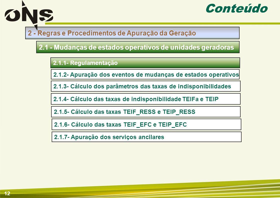 12 Conteúdo 2 - Regras e Procedimentos de Apuração da Geração 2.1.1- Regulamentação 2.1 - Mudanças de estados operativos de unidades geradoras 2.1.3-