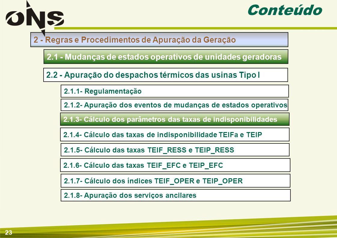 23 Conteúdo 2 - Regras e Procedimentos de Apuração da Geração 2.1.1- Regulamentação 2.1 - Mudanças de estados operativos de unidades geradoras 2.2 - A