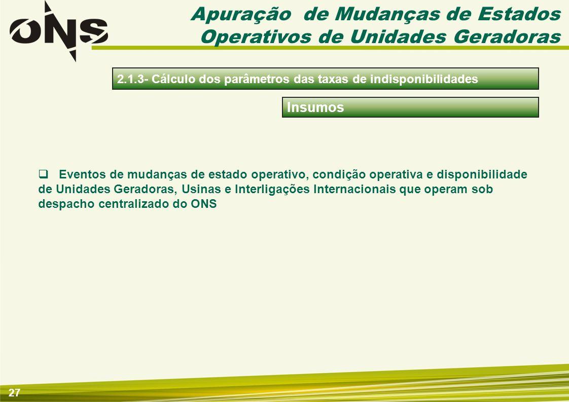 27 Insumos Eventos de mudanças de estado operativo, condição operativa e disponibilidade de Unidades Geradoras, Usinas e Interligações Internacionais