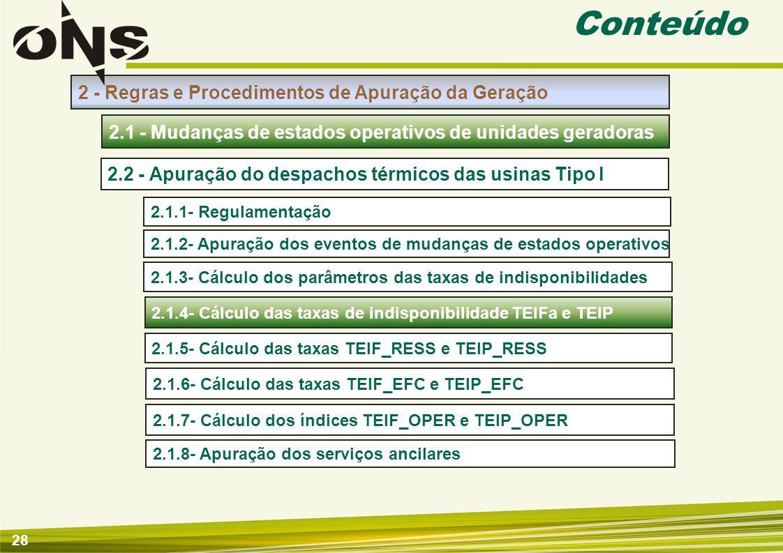 29 2.1.4- Cálculo das taxas de indisponibilidade TEIFa e TEIP Apuração de Mudanças de Estados Operativos de Unidades Geradoras Insumos Apuração Introdução