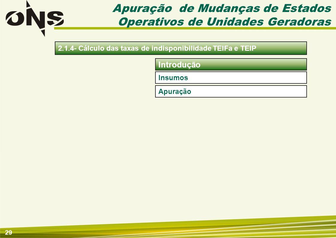 29 2.1.4- Cálculo das taxas de indisponibilidade TEIFa e TEIP Apuração de Mudanças de Estados Operativos de Unidades Geradoras Insumos Apuração Introd