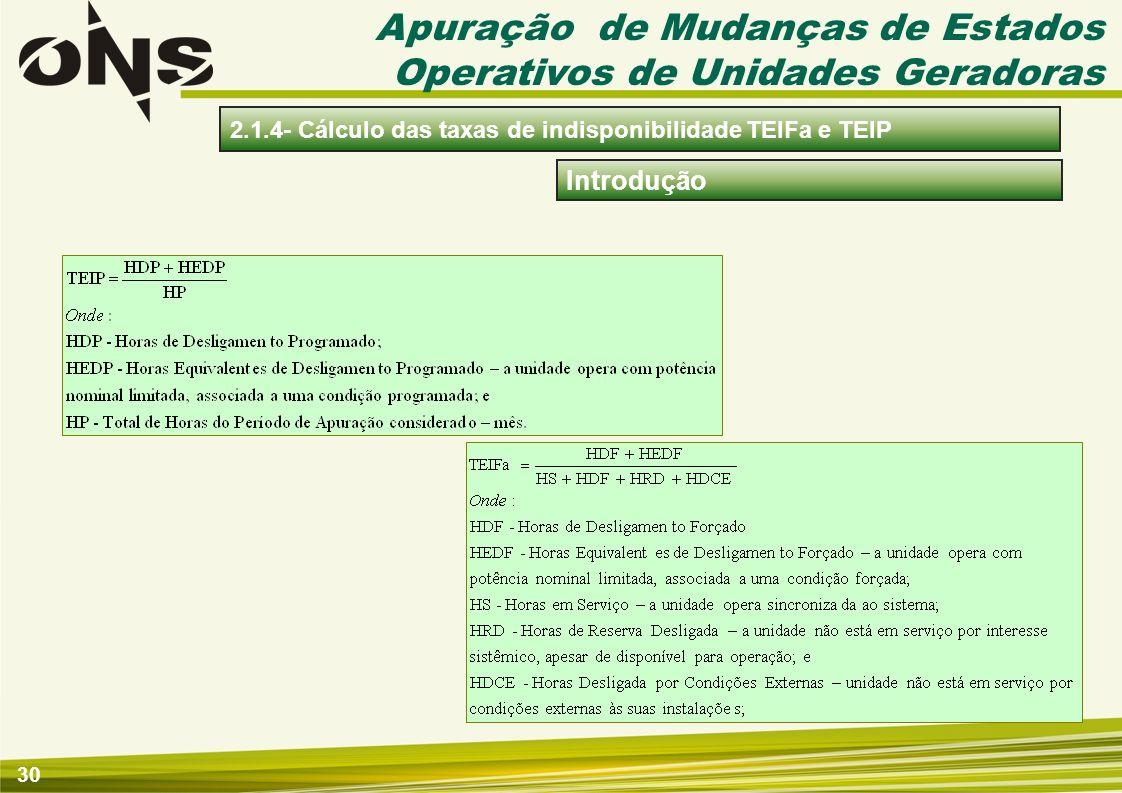 30 Introdução 2.1.4- Cálculo das taxas de indisponibilidade TEIFa e TEIP Apuração de Mudanças de Estados Operativos de Unidades Geradoras