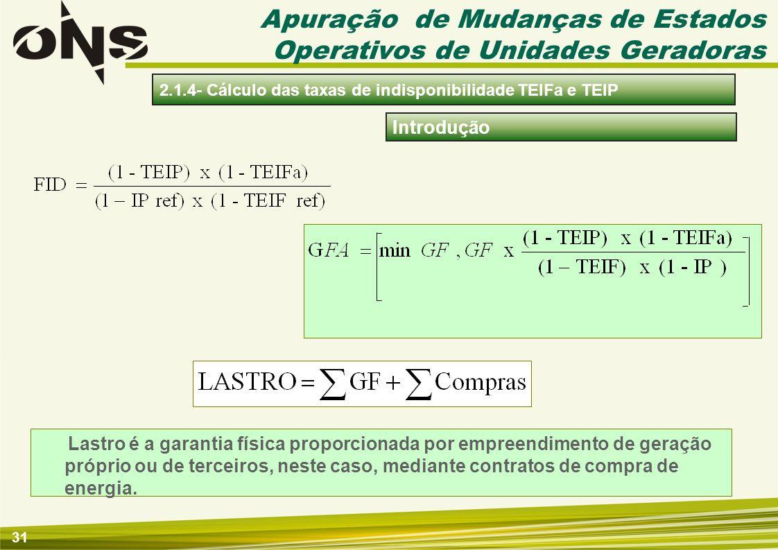 31 Introdução 2.1.4- Cálculo das taxas de indisponibilidade TEIFa e TEIP Apuração de Mudanças de Estados Operativos de Unidades Geradoras Lastro é a g