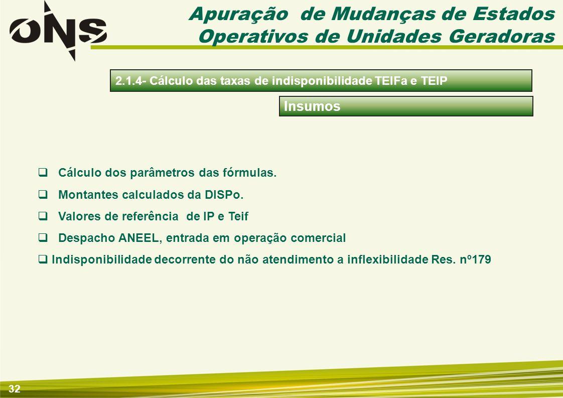 33 Apuração 2.1.4- Cálculo das taxas de indisponibilidade TEIFa e TEIP Cálculo das taxas mensais TEIFa e TEIP das taxas por Unidade Geradora e Interligação Internacional, com base nos parâmetros das taxas.