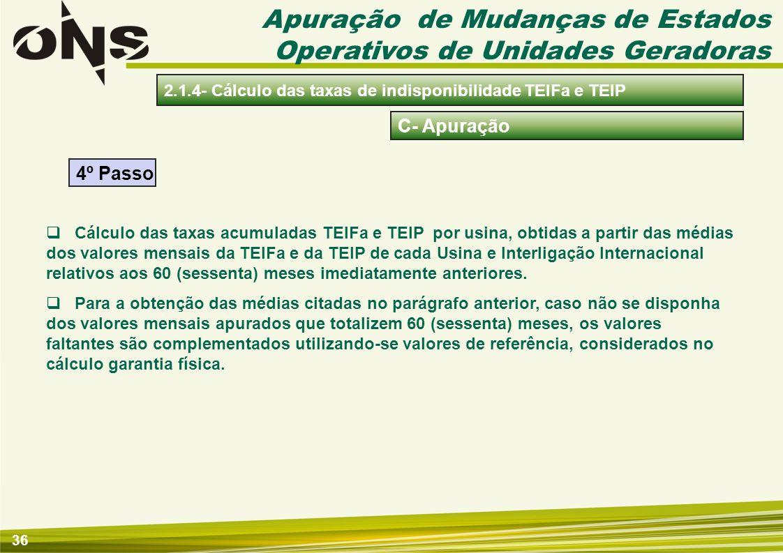36 C- Apuração 2.1.4- Cálculo das taxas de indisponibilidade TEIFa e TEIP Cálculo das taxas acumuladas TEIFa e TEIP por usina, obtidas a partir das mé