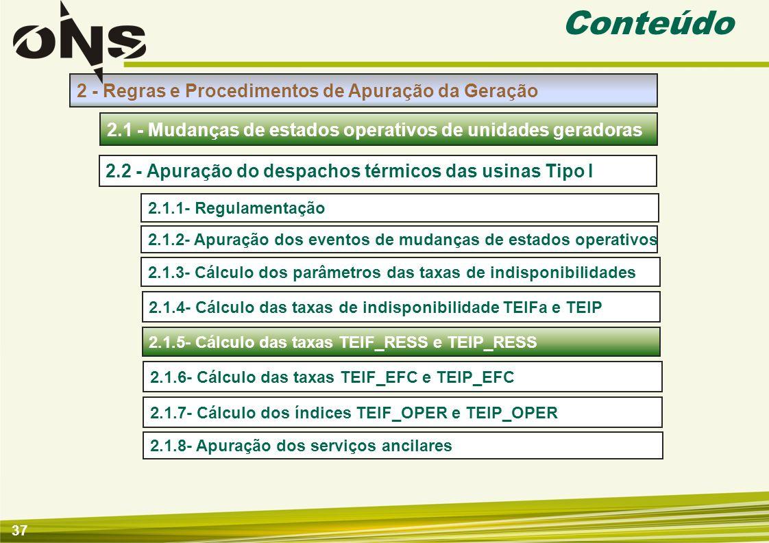 38 Apuração de Mudanças de Estados Operativos de Unidades Geradoras 2.1.5- Cálculo das taxas TEIF_RESS e TEIP_RESS Insumos Apuração Introdução