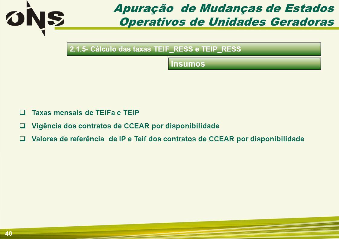 41 Apuração Cálculo das taxas acumuladas TEIF_RESS e TEIP_RESS por usina, obtidas a partir das médias dos valores mensais da TEIFa e da TEIP de cada Usina e Interligação Internacional relativos aos 60 (sessenta) meses imediatamente anteriores.
