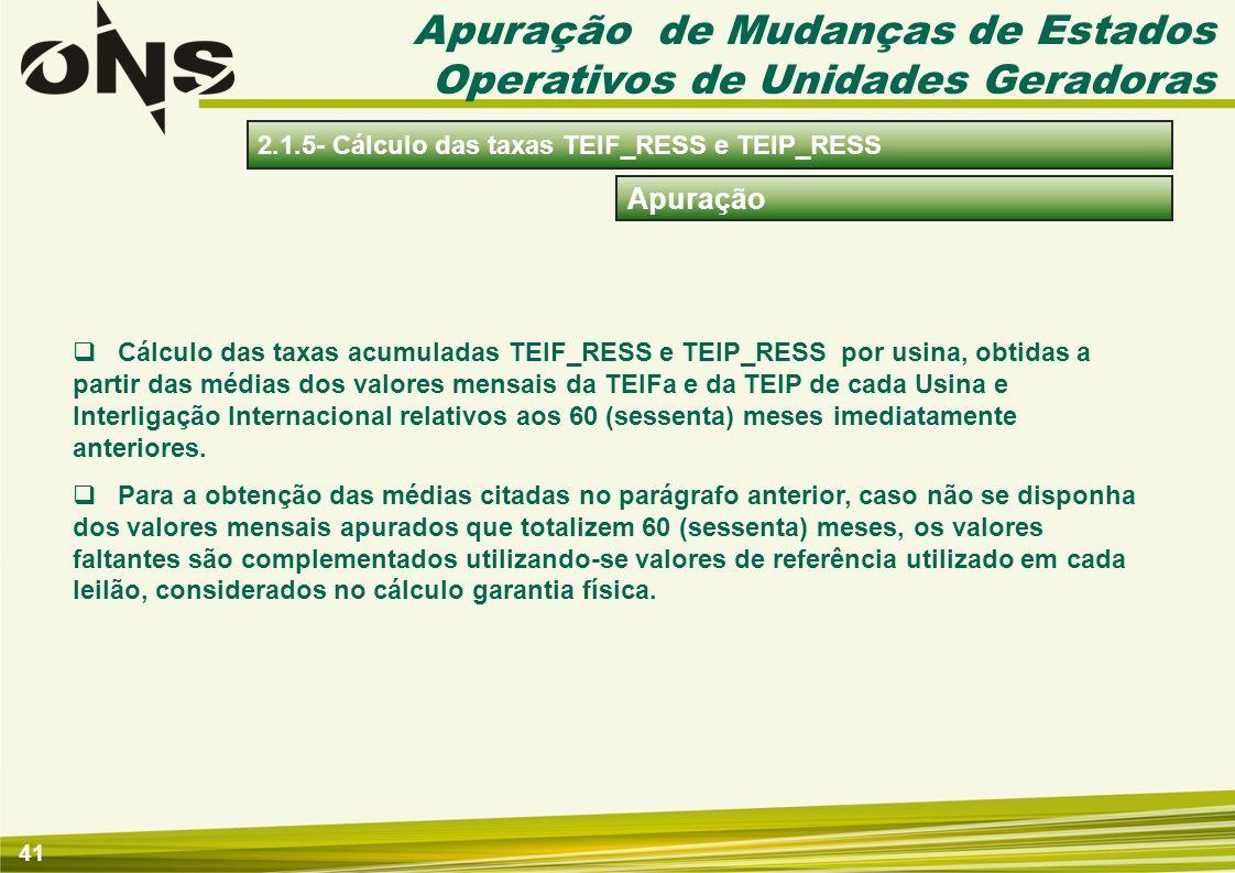 41 Apuração Cálculo das taxas acumuladas TEIF_RESS e TEIP_RESS por usina, obtidas a partir das médias dos valores mensais da TEIFa e da TEIP de cada U