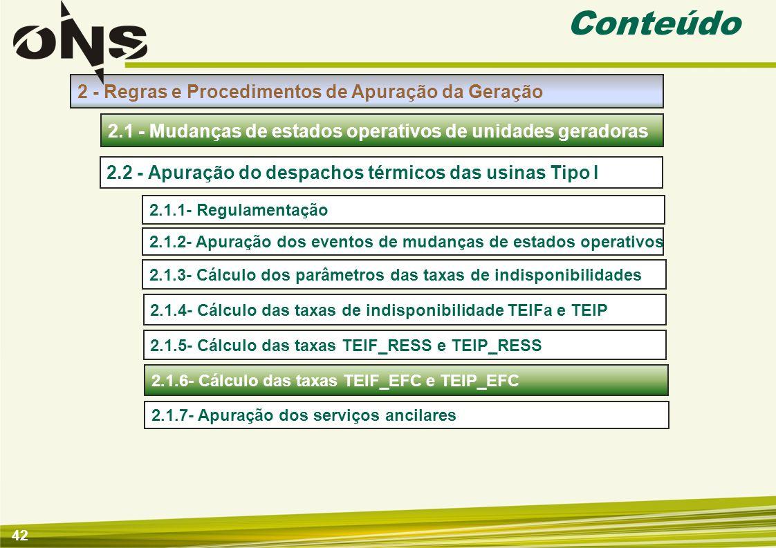 43 Apuração de Mudanças de Estados Operativos de Unidades Geradoras 2.1.6- Cálculo das taxas TEIF_EFC e TEIP_EFC Insumos Apuração Introdução