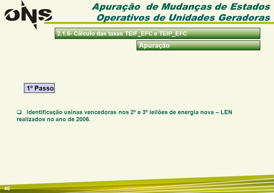 46 Apuração Identificação usinas vencedoras nos 2º e 3º leilões de energia nova – LEN realizados no ano de 2006. 1º Passo Apuração de Mudanças de Esta