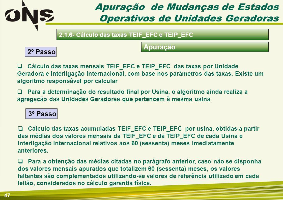 48 Conteúdo 2 - Regras e Procedimentos de Apuração da Geração 2.1.1- Regulamentação 2.1 - Mudanças de estados operativos de unidades geradoras 2.2 - Apuração do despachos térmicos das usinas Tipo I 2.1.3- Cálculo dos parâmetros das taxas de indisponibilidades 2.1.4- Cálculo das taxas de indisponibilidade TEIFa e TEIP 2.1.5- Cálculo das taxas TEIF_RESS e TEIP_RESS 2.1.6- Cálculo das taxas TEIF_EFC e TEIP_EFC 2.1.2- Apuração dos eventos de mudanças de estados operativos 2.1.7- Apuração dos serviços ancilares