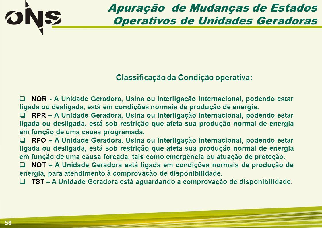 58 Classificação da Condição operativa: NOR - A Unidade Geradora, Usina ou Interligação Internacional, podendo estar ligada ou desligada, está em cond