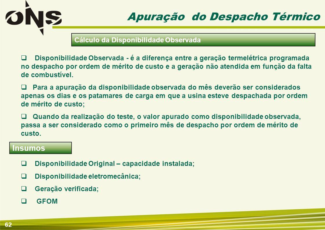 62 Apuração do Despacho Térmico Disponibilidade Observada - é a diferença entre a geração termelétrica programada no despacho por ordem de mérito de c