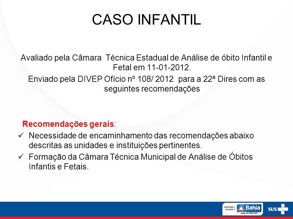 CASO INFANTIL Avaliado pela Câmara Técnica Estadual de Análise de óbito Infantil e Fetal em 11-01-2012. Enviado pela DIVEP Ofício nº 108/ 2012 para a