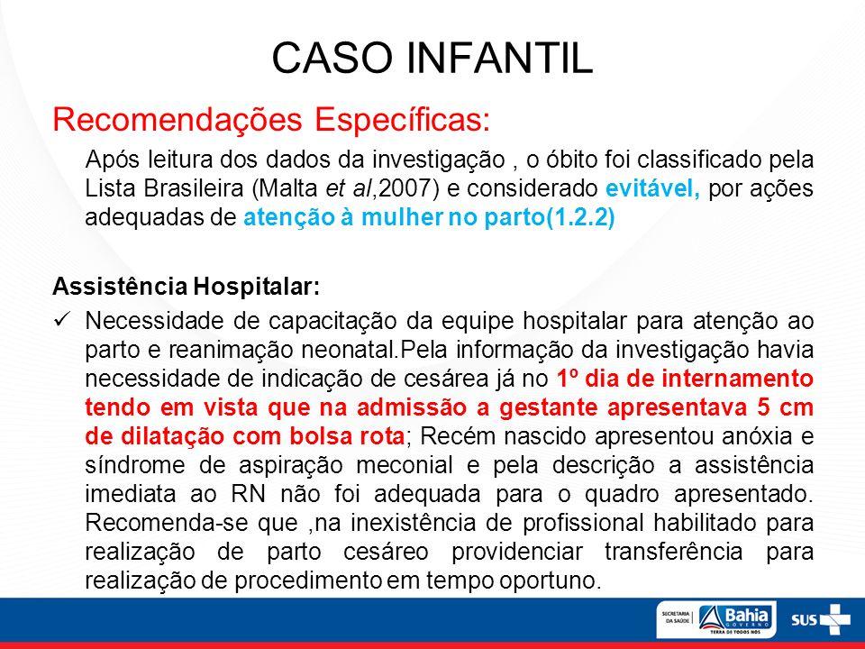 CASO INFANTIL Recomendações Específicas: Após leitura dos dados da investigação, o óbito foi classificado pela Lista Brasileira (Malta et al,2007) e c