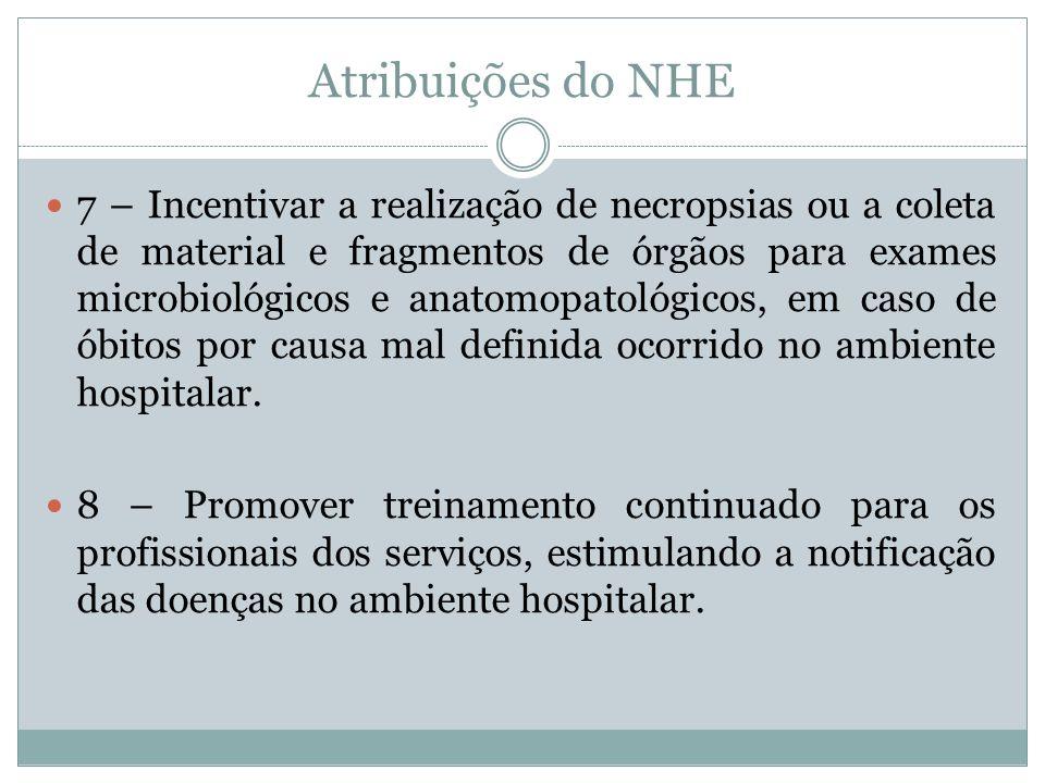 Atribuições do NHE 7 – Incentivar a realização de necropsias ou a coleta de material e fragmentos de órgãos para exames microbiológicos e anatomopatol