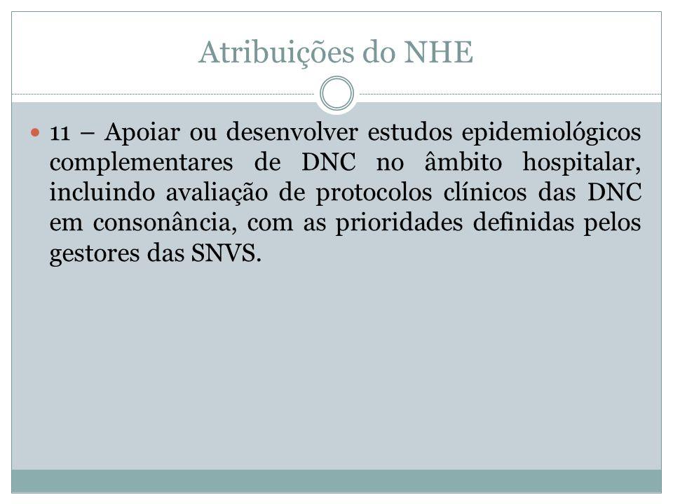 Atribuições do NHE 11 – Apoiar ou desenvolver estudos epidemiológicos complementares de DNC no âmbito hospitalar, incluindo avaliação de protocolos cl
