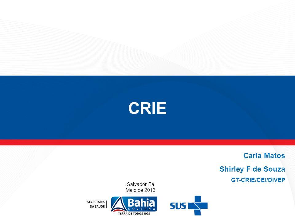 CRIE Salvador-Ba Maio de 2013 Carla Matos Shirley F de Souza GT-CRIE/CEI/DIVEP