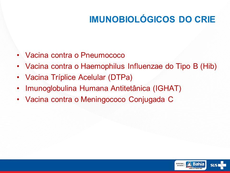 IMUNOBIOLÓGICOS DO CRIE Vacina contra o Pneumococo Vacina contra o Haemophilus Influenzae do Tipo B (Hib) Vacina Tríplice Acelular (DTPa) Imunoglobuli