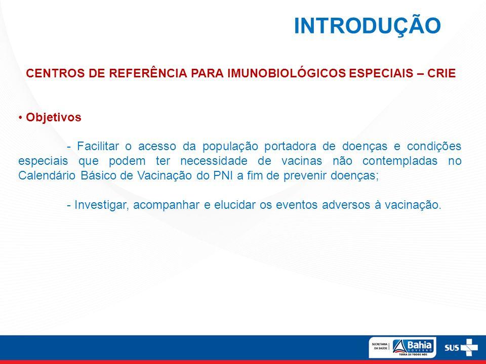INTRODUÇÃO CENTROS DE REFERÊNCIA PARA IMUNOBIOLÓGICOS ESPECIAIS – CRIE Objetivos - Facilitar o acesso da população portadora de doenças e condições es