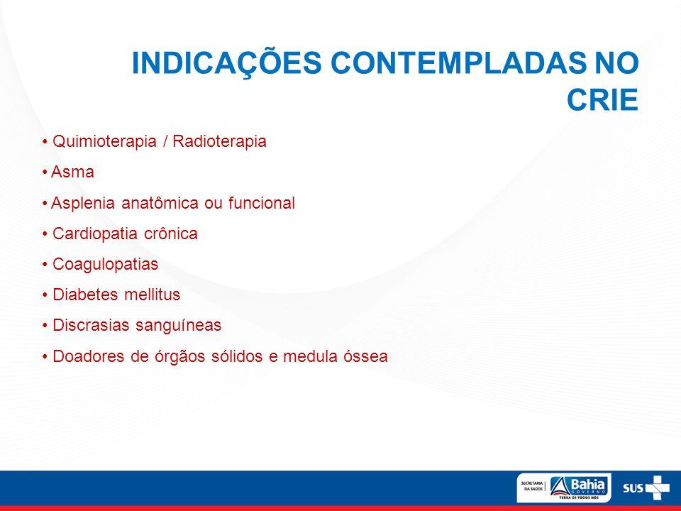 INDICAÇÕES CONTEMPLADAS NO CRIE Quimioterapia / Radioterapia Asma Asplenia anatômica ou funcional Cardiopatia crônica Coagulopatias Diabetes mellitus